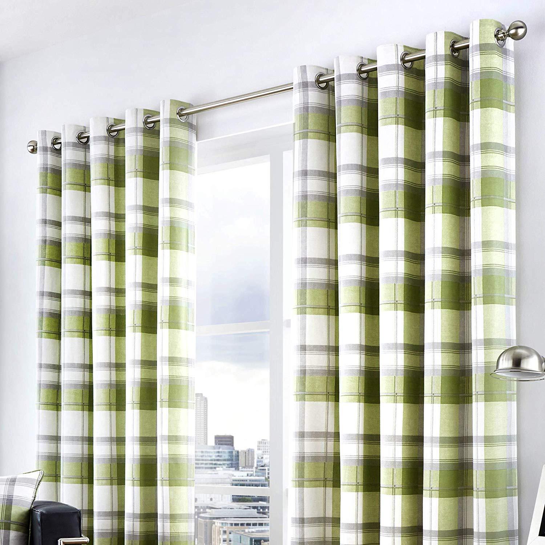 Balmoral Check Lined Eyelet Curtains Green Marshalls Of Preston